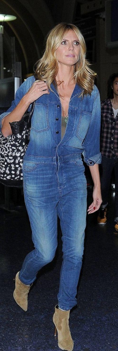 Heidi Klum, denim jumpsuit