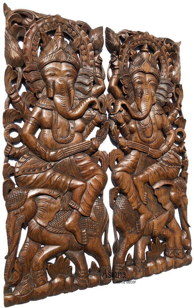 Ganesha Buddha With Elephant Carved Wood Panels Brown Finish 35 5