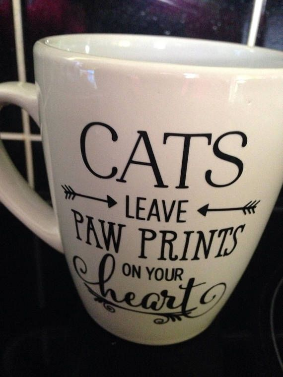 Cats Leave Paw Prints On Our Hearts Vinyl Mug, Fur Baby Mug, Cat Lady Gifts, Cat Lover Birthday, Kitten Themed Gifts, Work Friend Gift