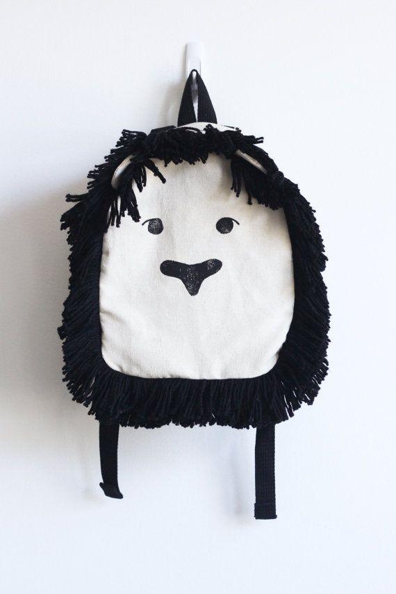 Toddler Backpack, Children's backpack, Lion backpack, Hand Stamped, Block…