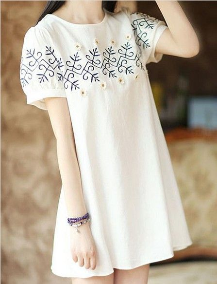 New 2016 Fresh Summer Dress Women Dress Casual Sexy Loose Flowers Embroidered Dress Cotton Linen White Dress Ropa Mujer Vestidos