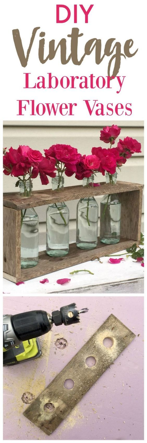 DIY Laboratory Flower Vases | Make this new but vintage looking table top centerpiece with this step by step tutorial from Create and Babble for TodaysCreativeLif...