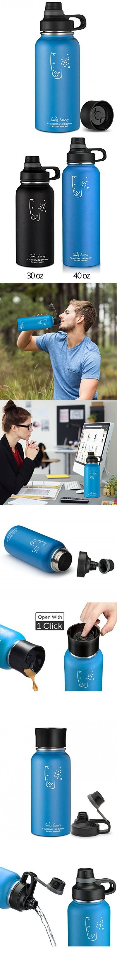 Swig Savvy BPA-Free Leak-Proof Stainless Steel Wide Mouth Insulated Water Bottle with Interchangeable Caps, 30 oz, Blue