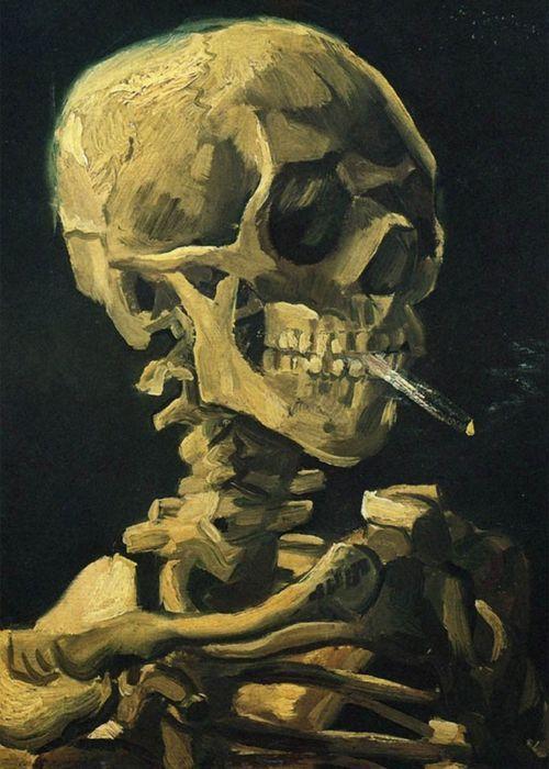 Vincent Van Gogh #art #artwork #smoking #painting #skull #skeleton