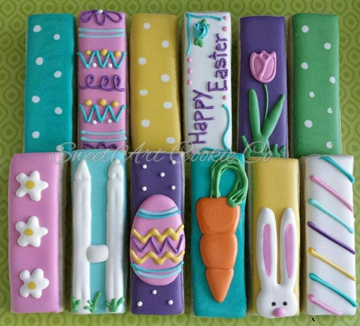 Easter Decorated Cookies / Dipping Sticks | Sweet Art Cookie Co.  Galletas decoradas para Pascua