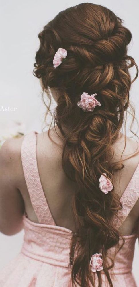 favorite wedding hairstyles-for-long hair with pink flowers