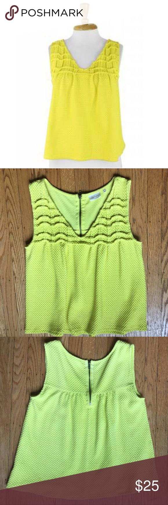 """Anthropologie Yellow Smocked Swing Tank Large Preowned in Excellent Condition! Textured Vibrant Yellow with Functioning back Zipper  Perfect with a Crossbody, Light WashHigh Waist Skinnys and  a Neutral Shoe❤️Size Large. Bust 40"""" Length 24"""" cotton poly blend Thank You! A Sunny Yellow for Sunny Summer Days Anthropologie Tops Tank Tops"""