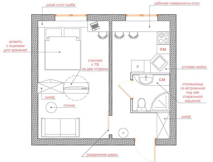 Планировка однушки серии дома II-49 - Квартира для пары