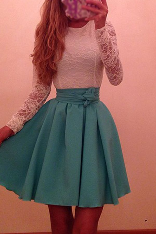 New Arrival O-Neck Long Sleeves Short Homecoming Dresses, White Lace Prom Dresses,Custom Made Blue Cocktail Dresses