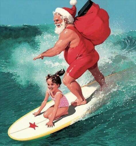 Santa surfing in Brazil
