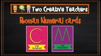 Two Creative Teachers - Roman Numeral CardsThis set contains roman numeral cards for the numbers one to ten as well as fifty, one hundred, five hundred and thousand. Each card is half the size of an A4 page. These cards can be used as flashcards to learn the roman numerals.