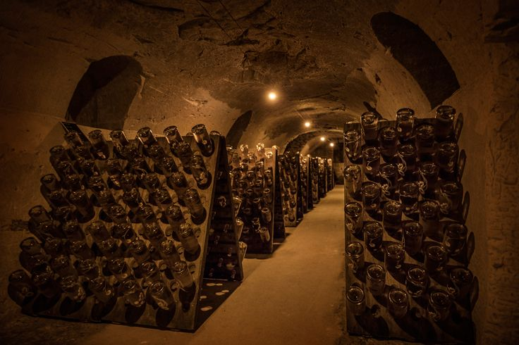 It is a fairytale-like place where the cobwebs, dew and mirror puddles are eternal and each day invisible hands roll the bottles a strict quarter turn. Drink responsibly. #champagne #cellars #Epernay #France Please Drink Responsibly