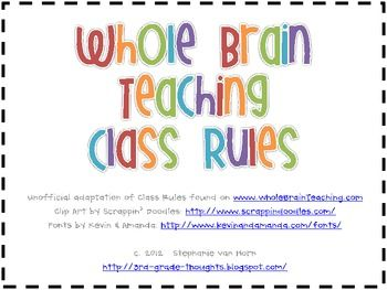 These rules come from Whole Brain Teaching at www.wholebrainteaching.com.They feature each rule number and its description with matching clip a...