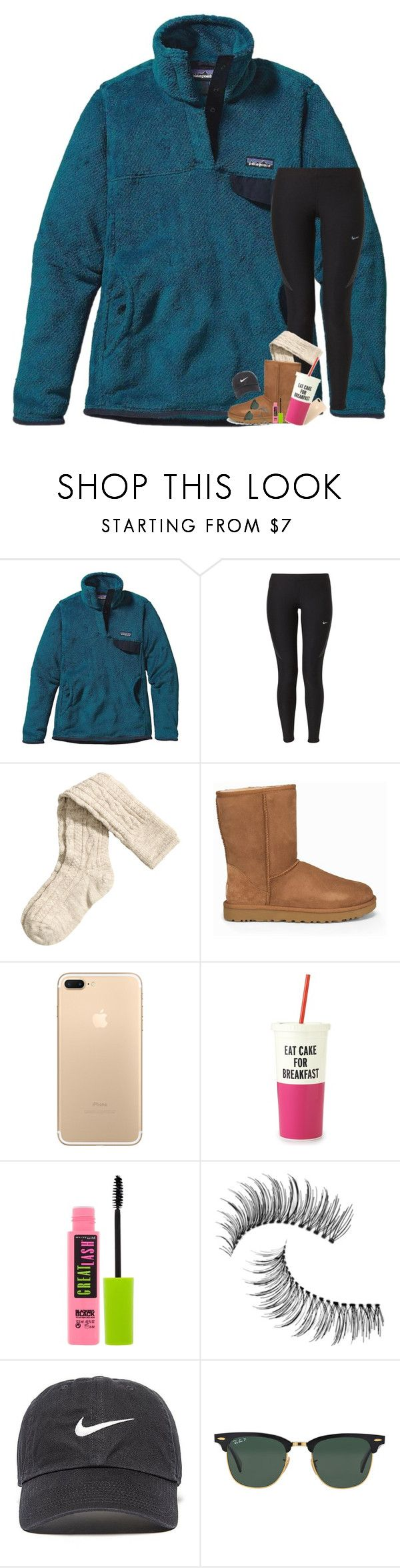 300 Followers!!!  by kat-attack ❤ liked on Polyvore featuring Patagonia, NIKE, HM, UGG, Kate Spade, Maybelline, Trish McEvoy and Ray-Ban