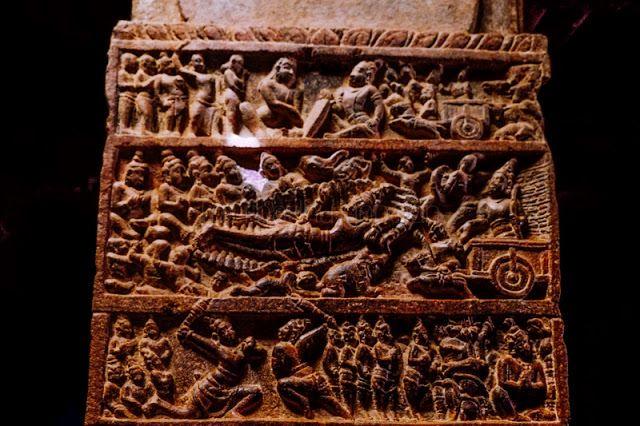 A pillar in the Virupaksha temple depicting Bhishma lying on a bed of arrows (Mahabharata)