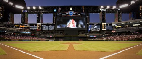 Arizona Diamondbacks, Phoenix, AZ:  From its signature swimming pool to its retractable roof, Chase Field has become one of the games most recognizable landmarks. Since the air-conditioned facility first opened its doors to a regular-season game on March 31, 1998, nearly 17.5 million baseball fans have enjoyed the opportunity to watch the Arizona Diamondbacks without worrying about Phoenixs summer heat or monsoon storms.