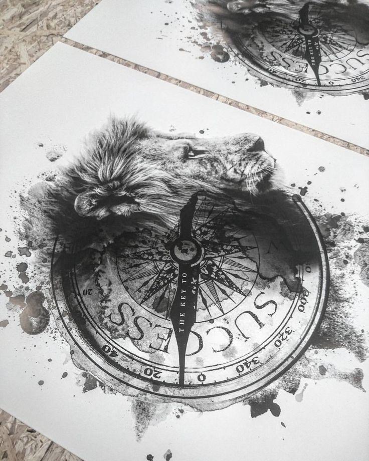 Tattoo Kompass Löwe Schlüssel zum Erfolg