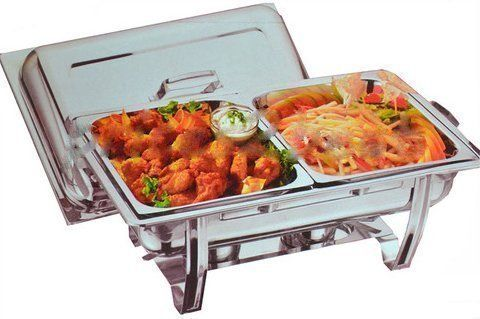 From 30.90:Double Deluxe Chafing Dish Set Food Warmer Buffet 2 Food Pans Fuel Gel Twin New