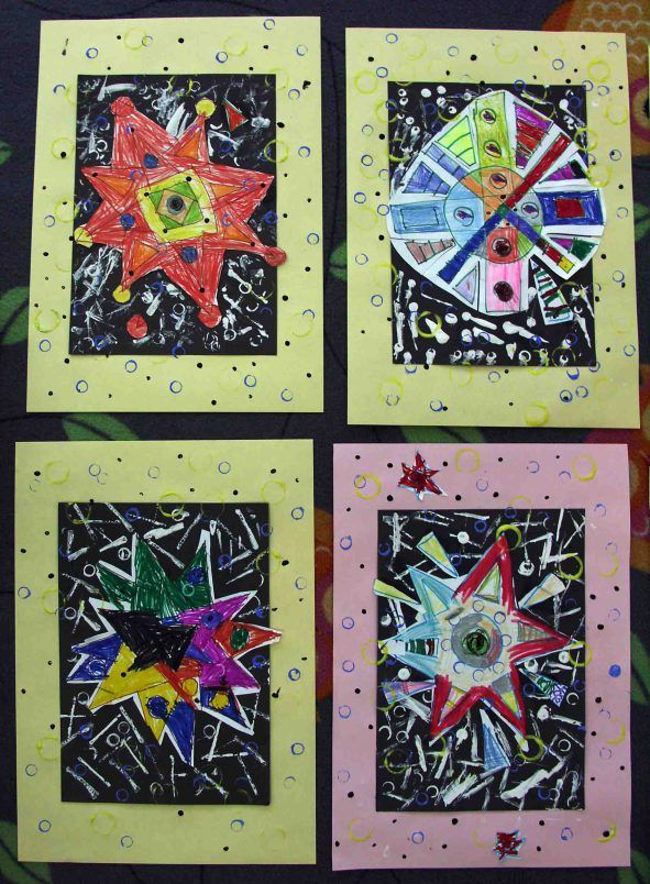 Art projects for kids kids art star elementary art ideas for kids star coloured stars snowflakes starry night
