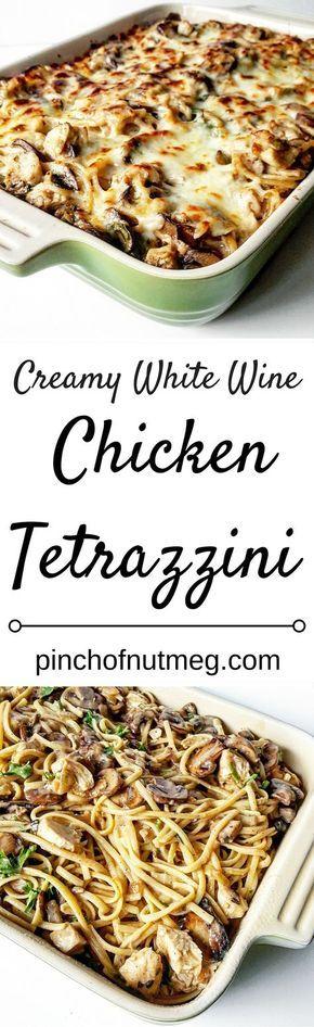 Creamy Chicken Tetrazzini with White Wine Sauce