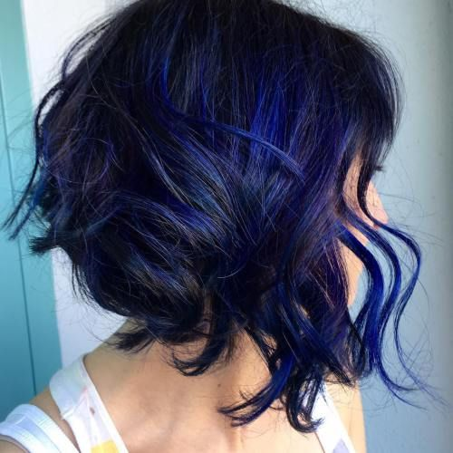 Electric blue highlights in black hair the best black hair 2017 dark brown with blue highlights hair color by chalaine archer 40 two tone hair styles pmusecretfo Gallery