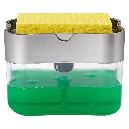 S T Inc Soap Pump Dispenser And Sponge Holder 13 Ounces Silver 592401 Walmart Com Soap Pump Dispenser Dish Soap Dispenser Soap Pump