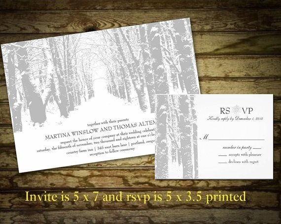Winter Wedding Invitations | Tree silhouette | Winter Landscape with Trees and Snow Winter Wonderland Printable File