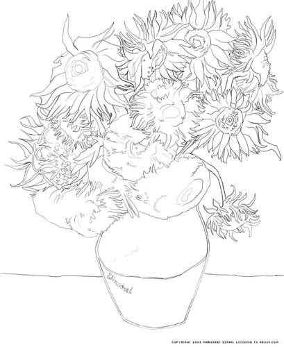 Sunflowers Coloring Page - Vincent van Gogh's Vase with 12 Sunflowers to Print and Color