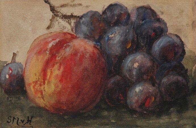 Sina 'Sientje' Mesdag-van Houten Groningen 1834-1909 Den Haag,Stilleven met perzik en druiven, aquarel op papier 9 x 13.6 cm, gesigneerd l.o. met initialen