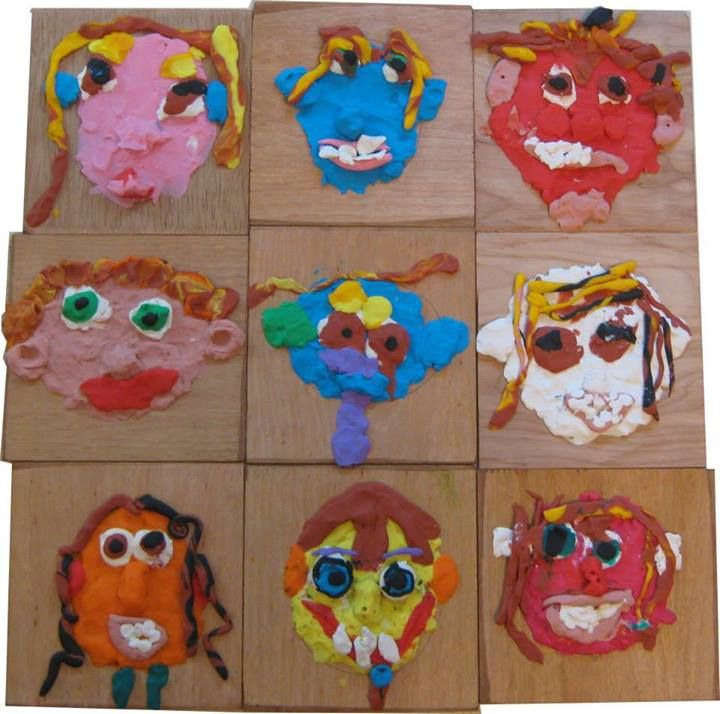 "Self portraits in clay at 'Garden Gate Child Development Center' ("",)"