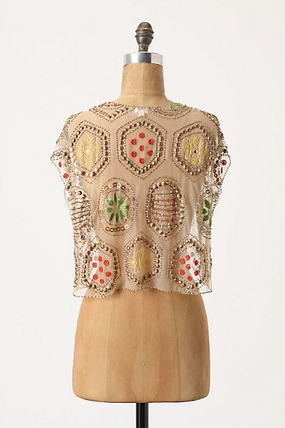 Light Posy Shrug (back view)- embroidery and embellishment on sheer.