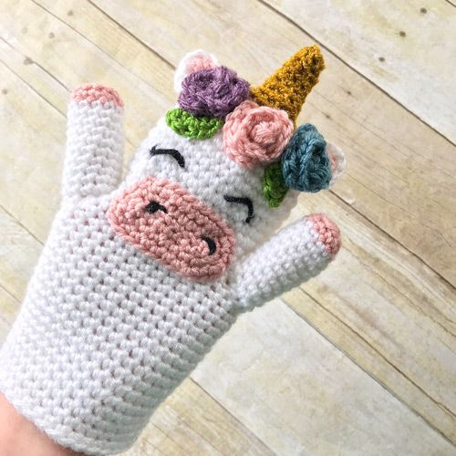 DIY Crochet Unicorn Hand Puppet - FREE pattern by EkayG on THNLife Blog - For preschool, play room, kids pretend play, gift