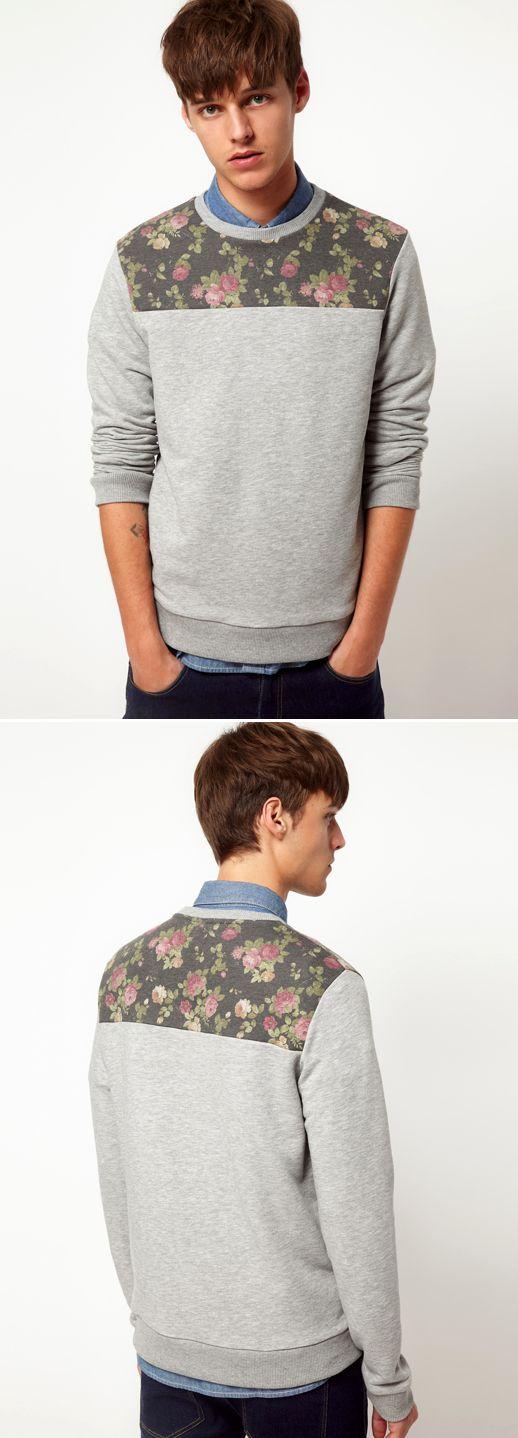 Blumen-PulliFloral Sweaters, Men Floral, Floral Yoke, Floral Front, Men Style, Floral Sweatshirts, Floral Graphics, Blumen Pully, Asos Men
