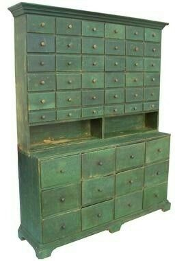 century twopiece apothecary stepback cupboard in green paint gotta love this