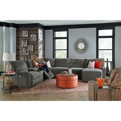 La-Z-Boy ASPEN Seven Piece Power Reclining Sectional Sofa with Cupholders