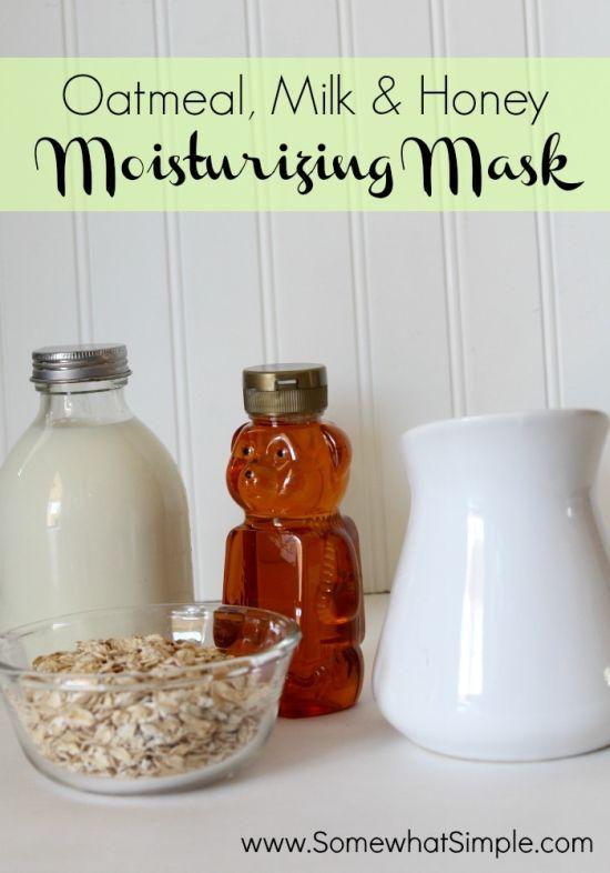 Oatmeal, Milk (I'd use a plant milk instead of cow's milk), and Honey Moisturizing Mud Mask.