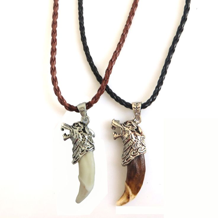 1pcs Fashion Jeweley Antique Silver Wolf Head Real Men Wolf Fang Tooth Amulet Charm Pendant Necklace Jewelry