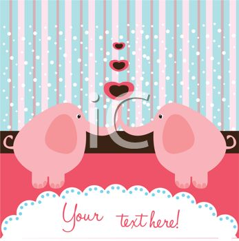 iCLIPART - Royalty Free Clipart Image of a Romantic Elephant Background With Space for Text