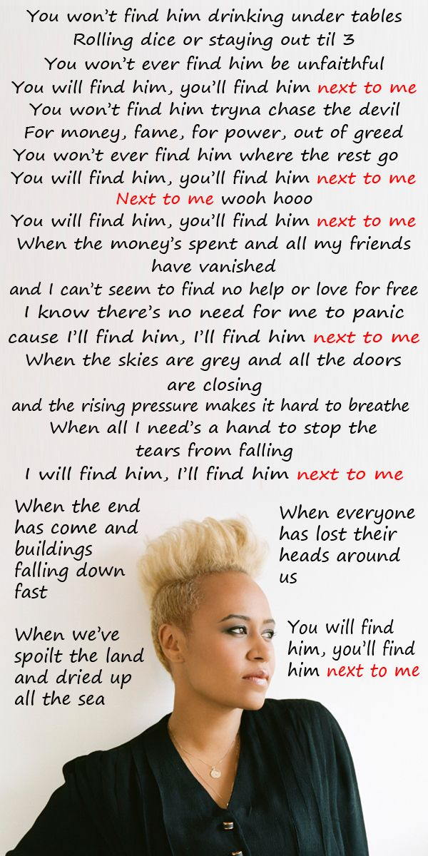 """Emeli Sande """"Next To Me"""" from the debut album """"Our Version of Events""""    There's no metaphor, simile, nor personification . There is repetition 6x. Imagery is in the song as she explain love. The meaning of this song is explaining true love."""