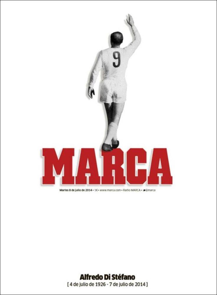 Marca España Portada Muere una leyenda del Futbol mundial Alfredo Di Stefano . Juilo 8, 2014