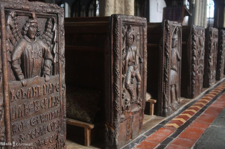 MEDIEVAL TUNICS | Altarnun, Cornwall: 'Bench ends in St Nonna's Church. The depiction of figures wearing medieval tunics is thought to have given rise to the notion of Cornish kilts and tartan.' ✫ღ⊰n