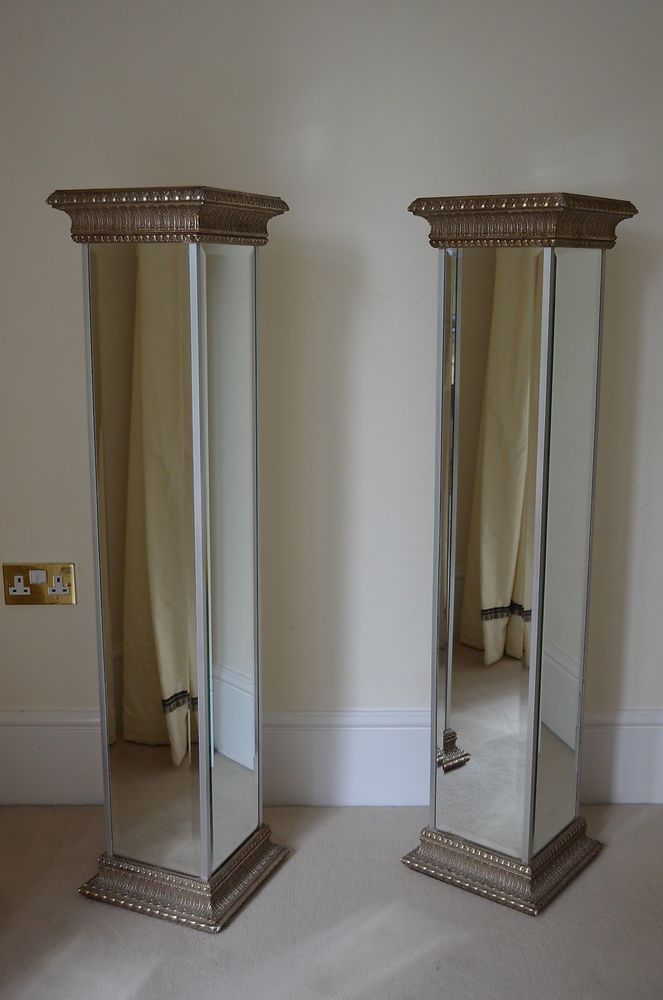 Pair Louis Baron Roman Style Mirrored Pillars Columns