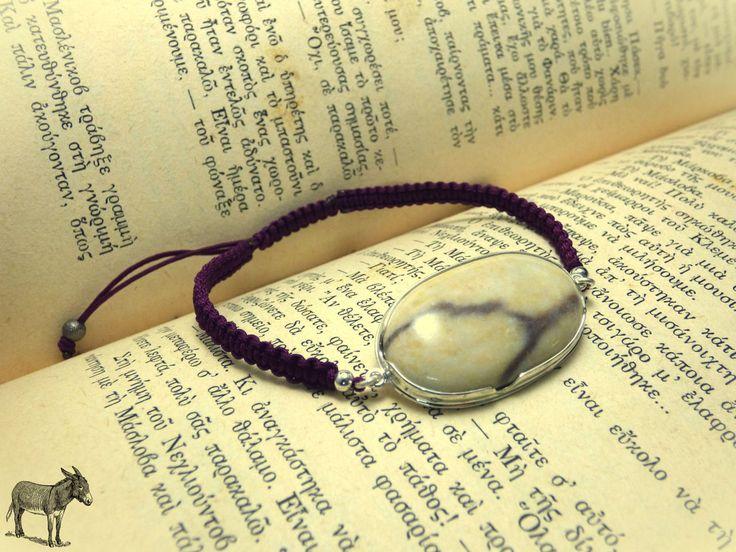 """ Chic silver Plated bracelet "" - Χειροποίητο επάργυρο βραχιόλι με Φυσικό Βότσαλο!"