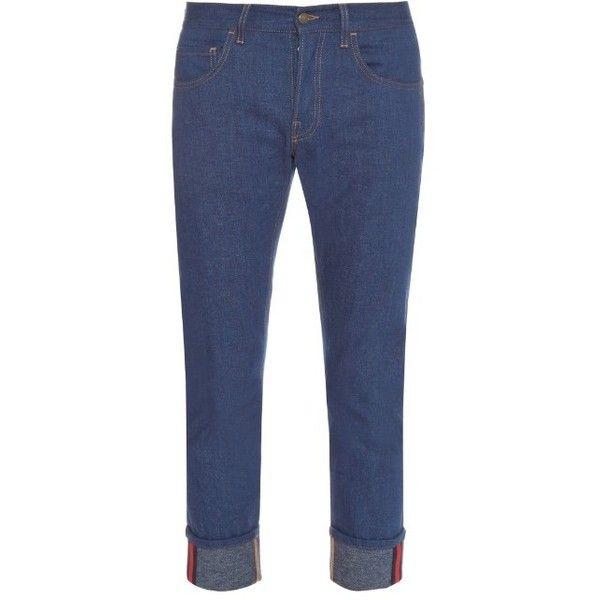 Gucci Tapered-leg turn-up jeans (446.095 CLP) ❤ liked on Polyvore featuring men's fashion, men's clothing, men's jeans, indigo, mens slim jeans, mens slim fit jeans, gucci mens jeans, mens tapered leg jeans and mens cuffed jeans