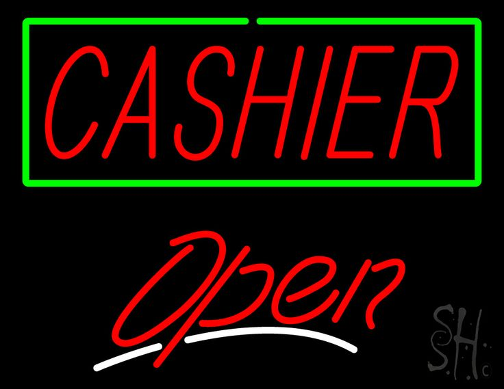 Cashier Open Neon Sign 24 Tall x 31 Wide x 3 Deep, is 100% Handcrafted with Real Glass Tube Neon Sign. !!! Made in USA !!!  Colors on the sign are Green, Red and White. Cashier Open Neon Sign is high impact, eye catching, real glass tube neon sign. This characteristic glow can attract customers like nothing else, virtually burning your identity into the minds of potential and future customers. Cashier Open Neon Sign can be left on 24 hours a day, seven days a week, 365 days a year...
