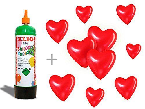 Bouteille d'hélium + 10 ballons de baudruche en forme de coeur rouge, la bouteille d'hélium est jetable non rechargeable »Elio Bombolo» 1…
