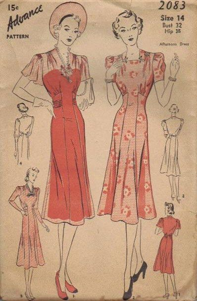 Advance 2083 ~ elegantly pretty 1930s spring/summer dresses. #vintage #1930s #sewing_patterns #fashion