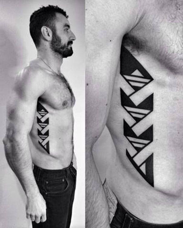 geometric tattoo on rib