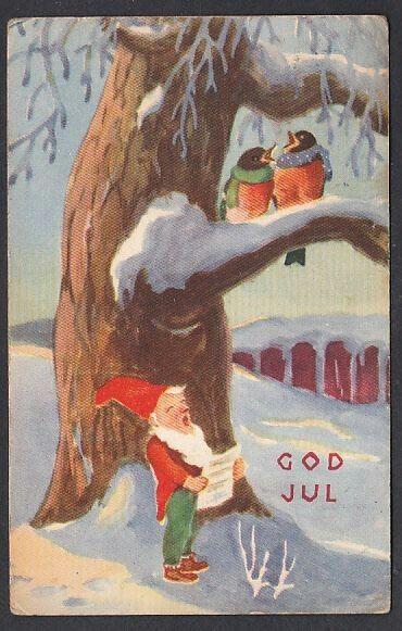 Julekort Nisse og fugler synger. Utg J.H.Küenholdt brukt 1943