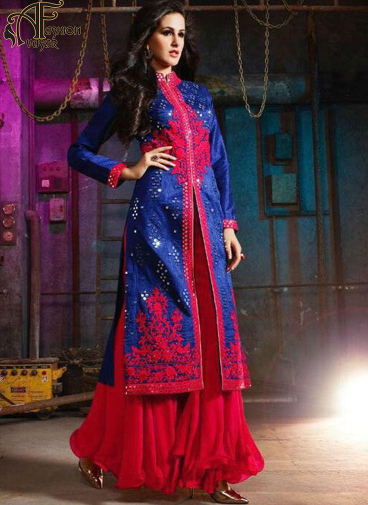 blue salwar suits online – indian silk designer salwar kameez online shopping